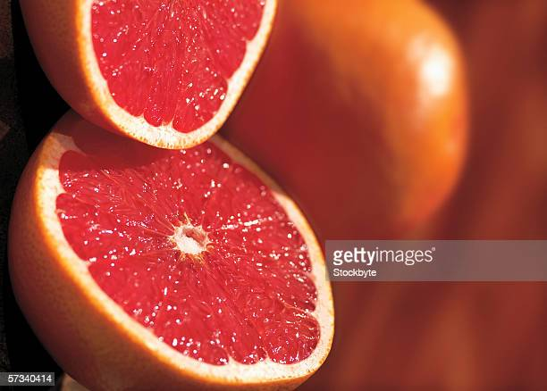 close-up of a cut open grapefruit