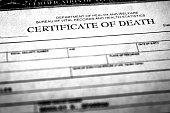 Closeup of a death certificate