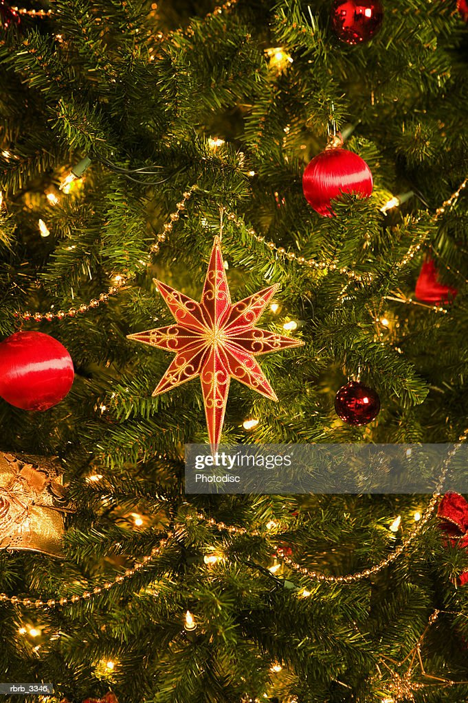 Close-up of a decorated Christmas tree : Stockfoto