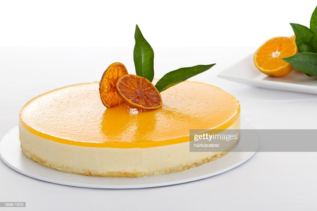 Close-up of a delicious orange cheesecake : Stock Photo