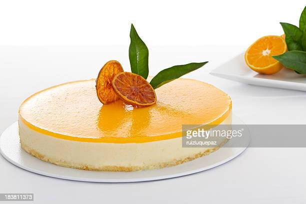 close-up of a delicious orange cheesecake - cake stock pictures, royalty-free photos & images