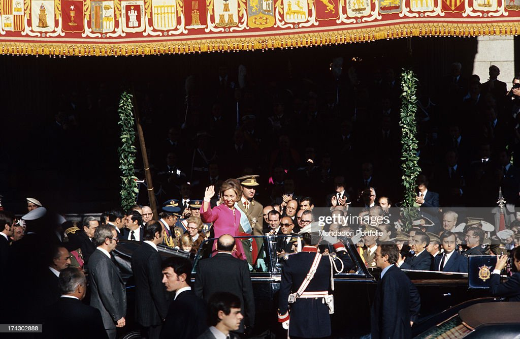 Juan Carlos Of Bourbon Among The Crowd With His Wife Sophia Of Greece : News Photo