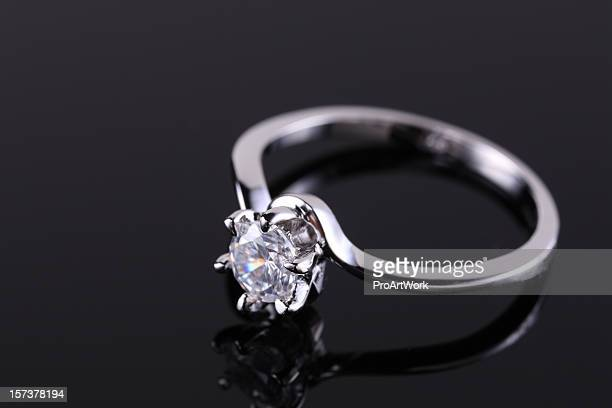 Close-up of a diamond engagement ring