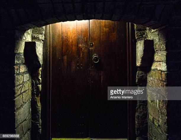 Close-up of a door in a alleway in Old Town, Edinburgh, Scotland.