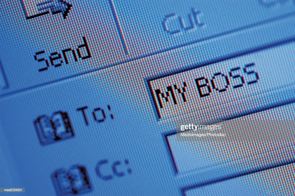 Close-up of a email address on a computer screen : Stock Photo