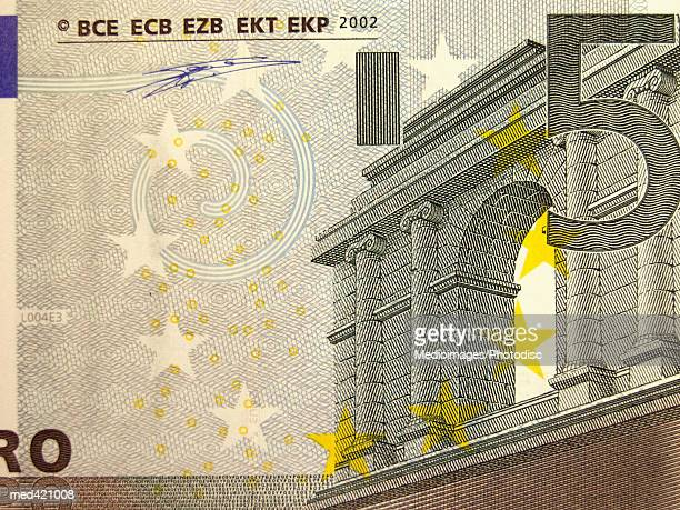 close-up of a euro bank note - five euro banknote stock photos and pictures