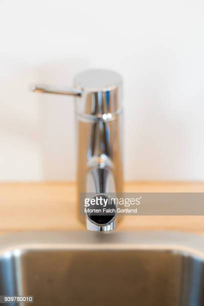 Close-Up of a Faucet in a Newly Refurbished Kitchen in Oslo, Norway