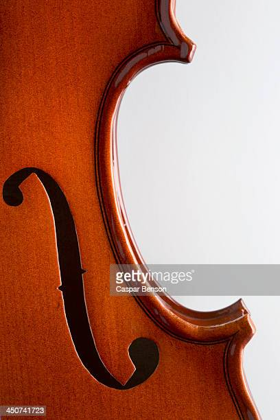 Close-up of a F-hole on a violin