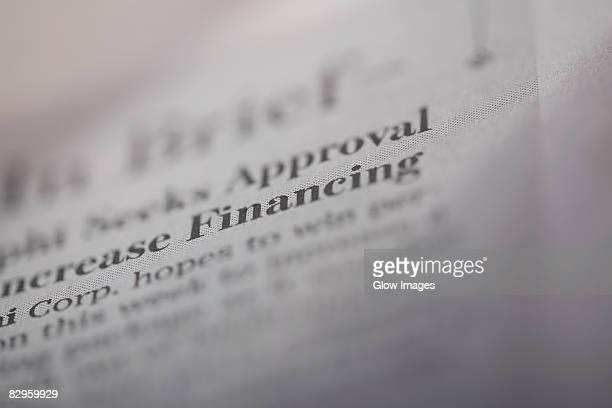 Close-up of a financial newspaper