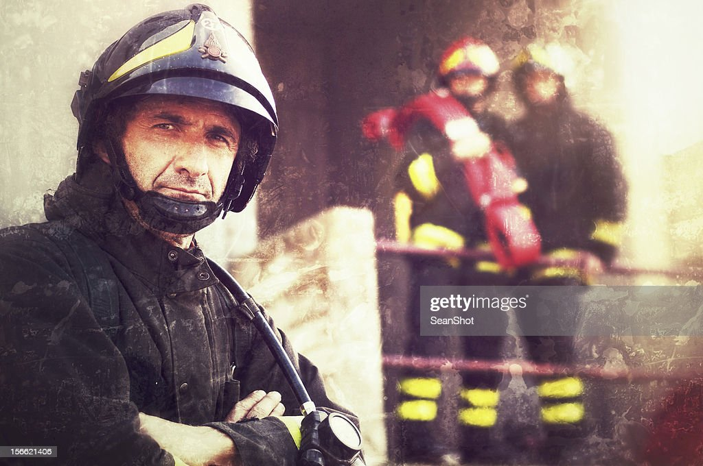 Close-up of a Firefighter : Stock Photo