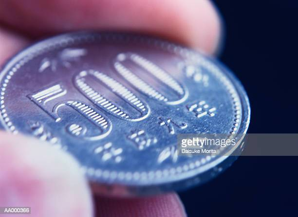 Close-up of a Five Hundred Yen Coin