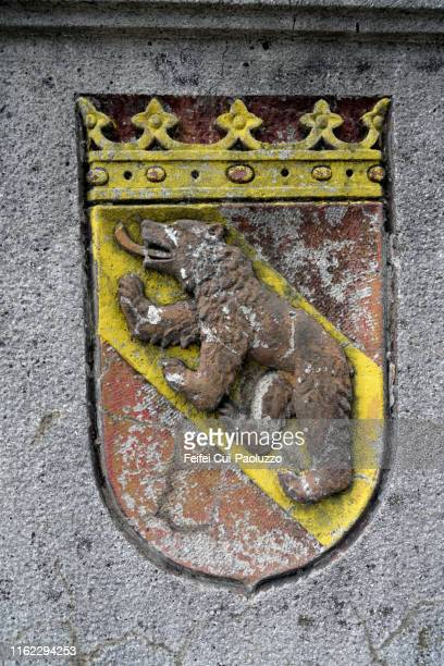 close-up of a flag and heraldic symbol of bern, switzerland - bern stock pictures, royalty-free photos & images