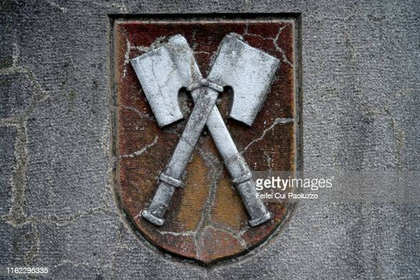close-up of a flag and heraldic symbol of biel, switzerland - coat of arms stock pictures, royalty-free photos & images