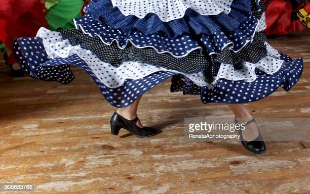 close-up of a flamenco dancers legs dancing - flamenco stock photos and pictures