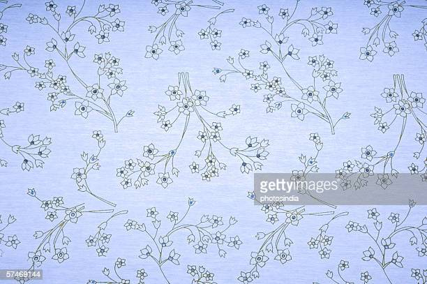 Close-up of a floral pattern on handmade paper