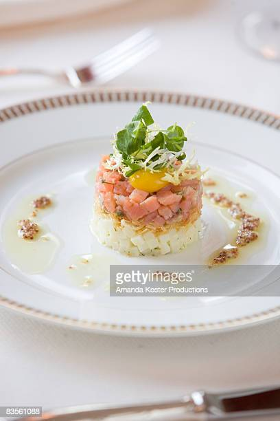 close-up of a fresh salmon appetizer - amanda salmon stock pictures, royalty-free photos & images