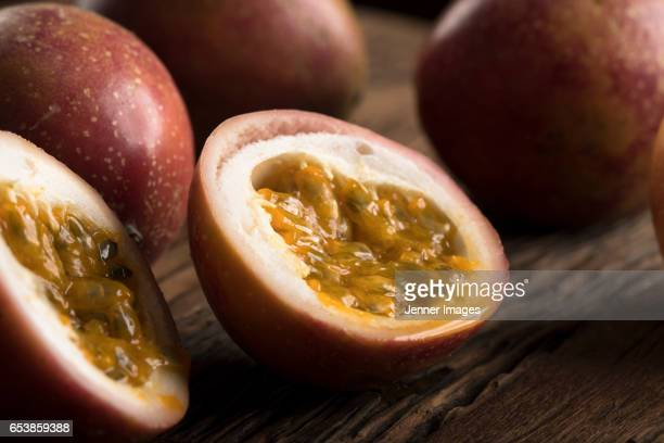 Close-Up Of A Fresh Sliced Passion Fruit.