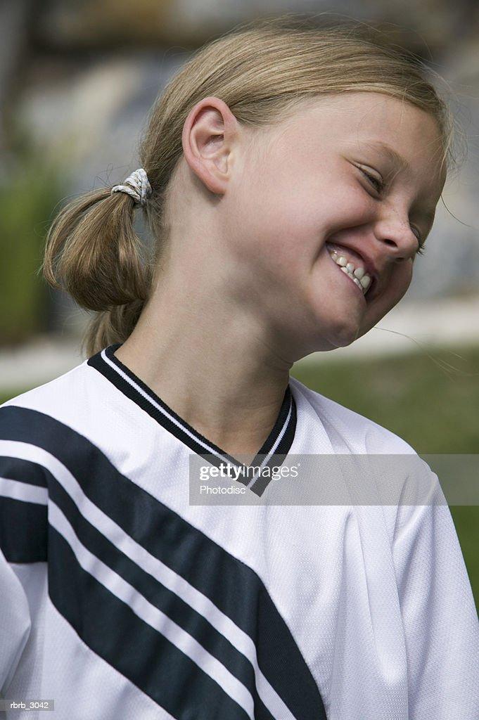 Close-up of a girl smiling : Foto de stock