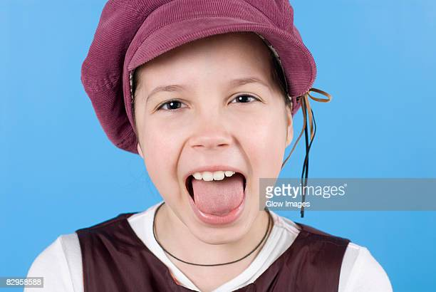 close-up of a girl with her open mouth - girls open mouth stock photos and pictures