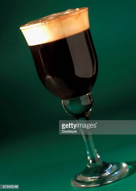 close-up of a glass of Irish coffee
