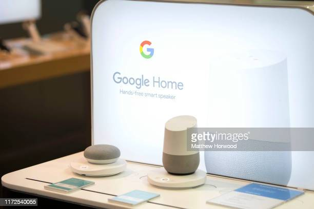 A closeup of a Google Home smart device in a retail store on May 29 2019 in Cardiff United Kingdom