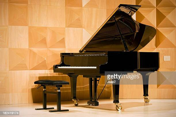 Close-up of a grand piano in concert hall, shallow DOF