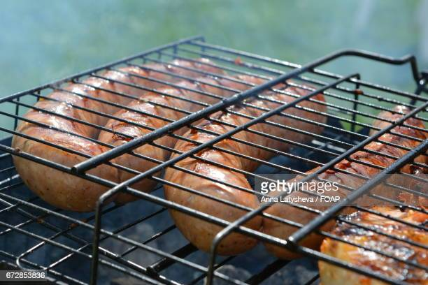 Close-up of a grilled sausage