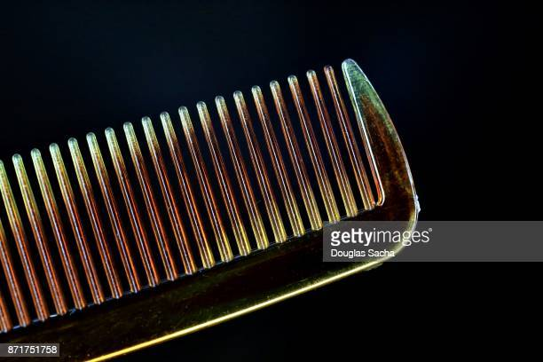Close-up of a Grooming comb on a black background