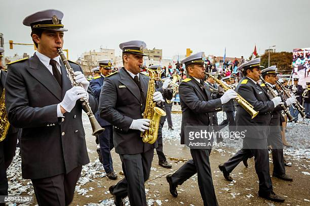 Closeup of a group of people belonging to the Musical Band of the Police of Cordoba Rosario Marching through the streets of Santa Fe in the city of...