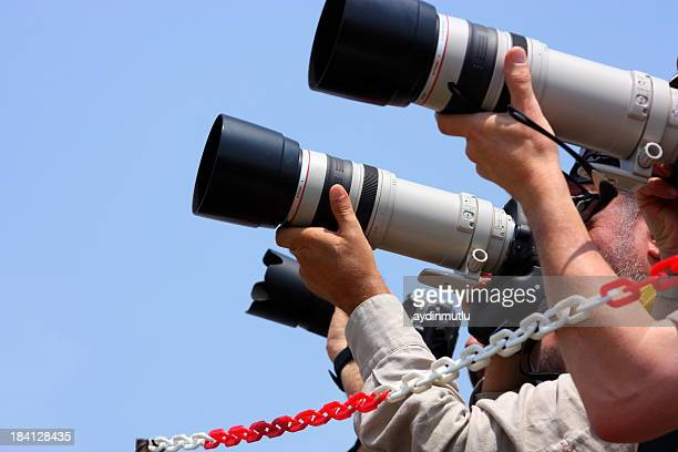 a close-up of a group of photographers - cannes stock pictures, royalty-free photos & images