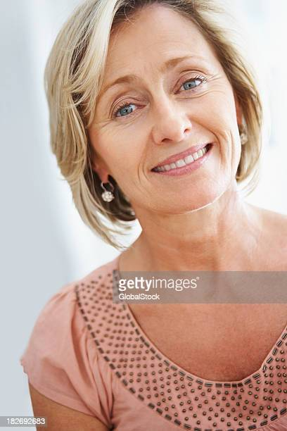 Closeup of a happy and beautiful elderly woman