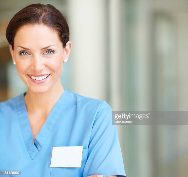Close-up of a happy female nurse smiling