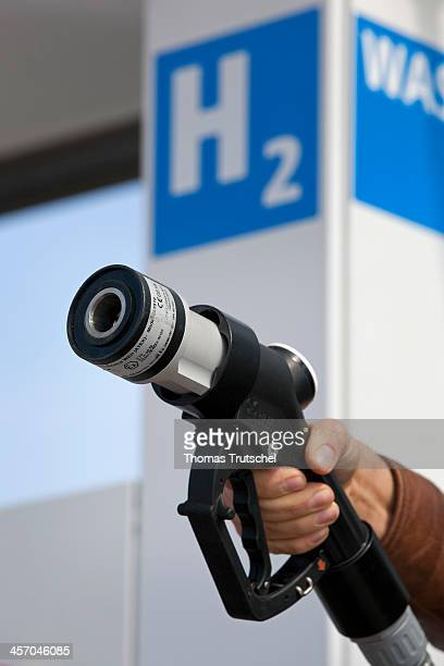 Closeup of a hydrogen pump nozzle at a hydrogen station on April 18 in Berlin Germany Photo by Thomas Trutschel/Photothek via Getty Images