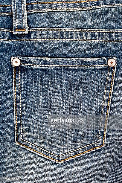 Closeup of a jean pocket laying unworn