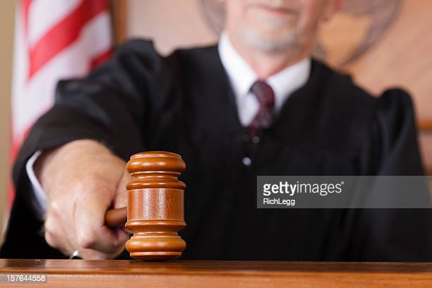 close-up of a judge's gavel - courtroom stock pictures, royalty-free photos & images