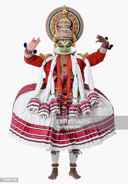Close-up of a Kathakali dance performer dancing