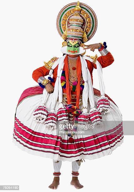 Close-up of a Kathakali dance performer standing