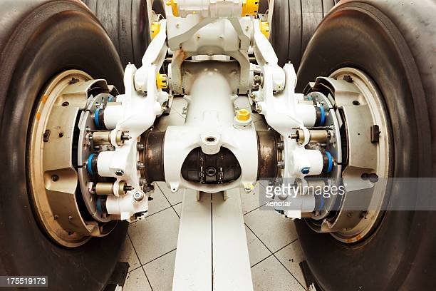 Close-up of a landing gear of aircraft