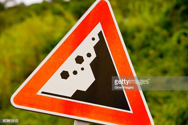 Close-up of a landslide road sign, Via Aurelia, Italian Riviera, Liguria, Italy