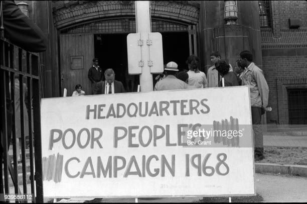 Closeup of a large sign that reads 'Headquarters Poor People's Campaign 1968' outside the 369th Regiment Armory Harlem New York New York May 11 1968...