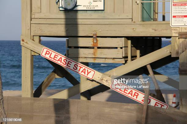 close-up of a lifeguard stand on the beach - marie lafauci stock pictures, royalty-free photos & images