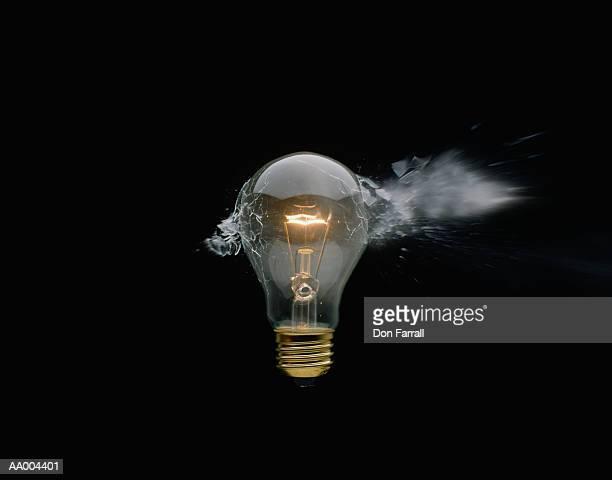 Close-Up of a Light Bulb Being Broken