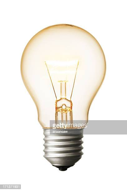 A close-up of a light bulb on a white background