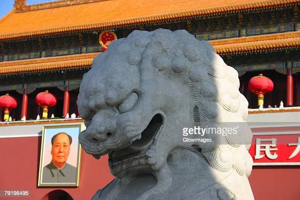Close-up of a lion statue in front of a museum, Tiananmen Gate Of Heavenly Peace, Tiananmen Square, Beijing, China