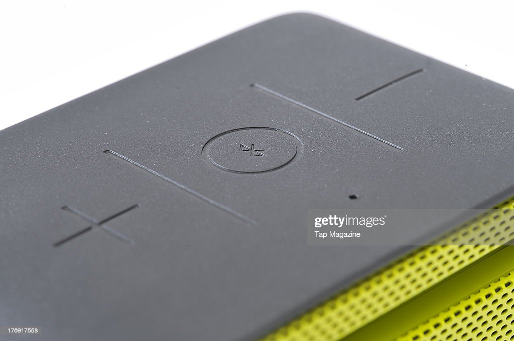 A close-up of a Logitech UE Mobile Boombox wireless speaker