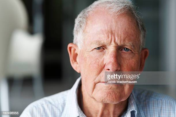 Close-up of a lonely retired man