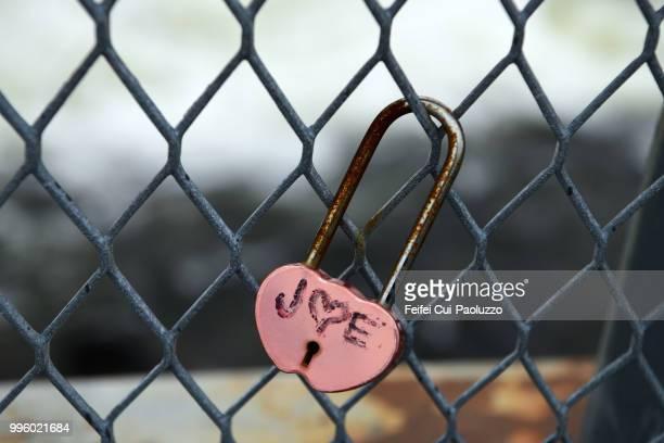 Close-up of a love padlock at Skoltefossen, near Neiden, Northern Norway
