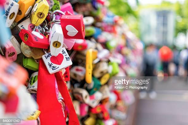 Closeup of a love padlock