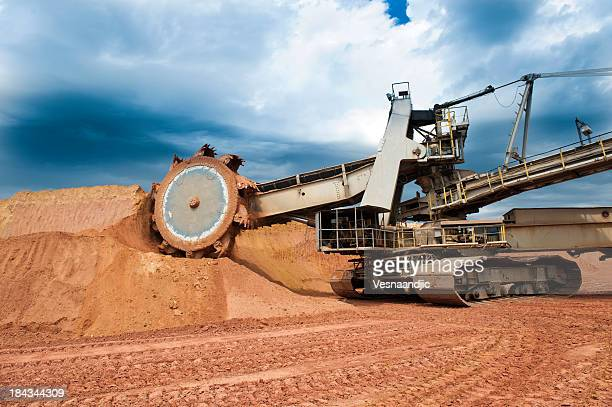 Close-up of a machine working on a coal mine