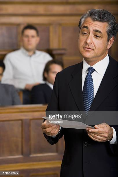 Close-up of a male lawyer talking in a courtroom